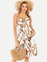White Chain Print Slip Tank Dress With Pockets