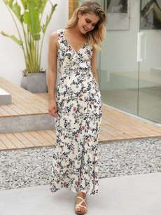White Criss Cross Backless Floral Print Maxi Dress