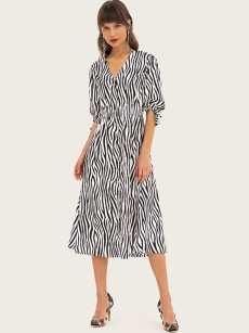 Zebra Striped V Neck Slit Hem Long Dress