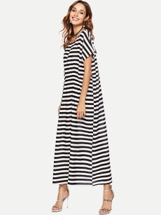 Black Striped Loose Maxi Cotton Dress