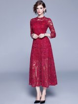 Elegant 3/4 Sleeve Slit Hem Lace Long Prom Dress