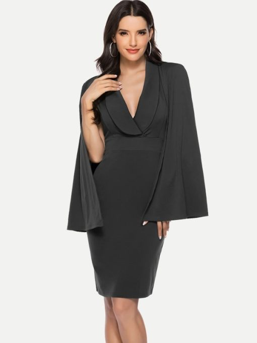 V Neck Batwing Sleeve Bodycon Evening Gown