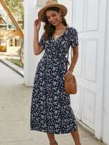 Floral Print V Neck Lacing Long Beach Dress