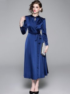 Blue Solid Belted Long Sleeve Maxi Evening Dress