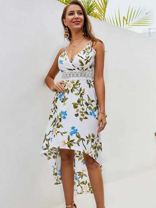 White V Neck Floral Print High Low Dress