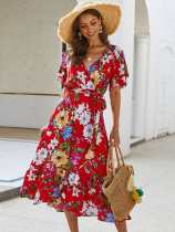 V Neck Floral Print Belted Long A-line Dress