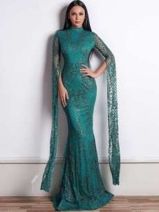 Mesh Sequin Glitter Long Sleeve Mermaid Maxi Prom Dress