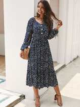 V Neck Floral Print Bohemian Long Sleeve Dress