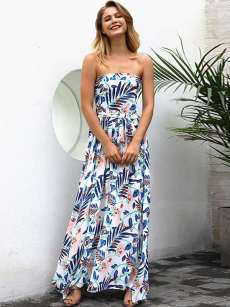 Floral Print Bandeau Strapless Maxi Holiday Dress