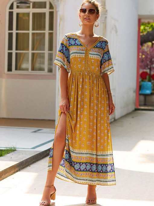 Geometric Print V Neck Slit Hem Boho Maxi Dress