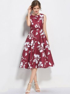 Retro Style Floral Print Belted Tank Midi Dress