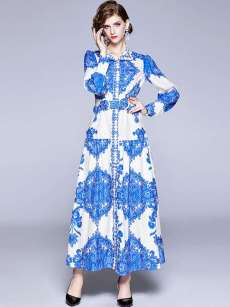 High Neck Floral Print Blue Long Sleeve Maxi Swing Dress