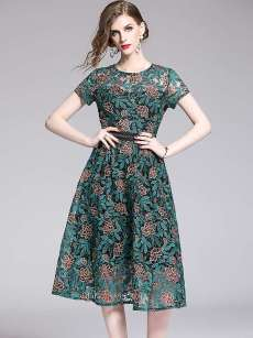 Embroidered Flowers Green Lace Retro A-line Dress