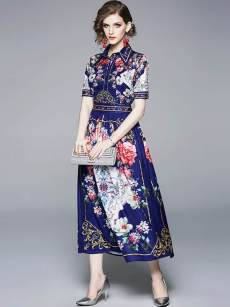Floral Print Maxi Vintage Dress With Sleeves