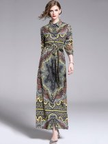 Geometric Print Belted Vintage Style Maxi Dress