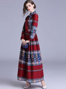 Lacing Collar National Style Red Geometric Print Maxi Dress