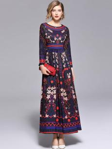 Floral Print Vintage Style Maxi Long Swing Dress