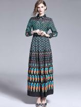 Lapel Printed Long Sleeve A-line Vintage Maxi Dress