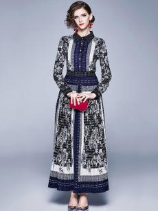 Floral Print Navy Long Sleeve Maxi Swing Dress