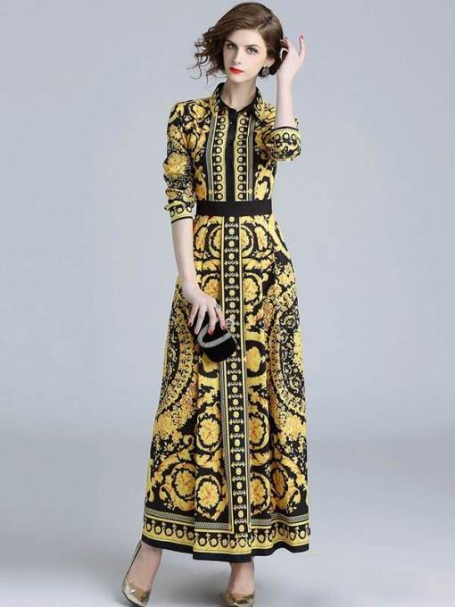 Floral Print Yellow Long Elegant A-line Dress