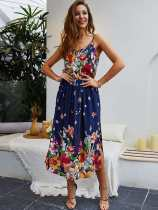 Floral Print Slit Hem Long Cami Dress