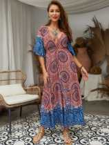 Plunge Neck Tribal Print Bohemian Maxi Dress