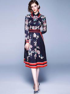 Navy Floral Print Long Sleeve A-line Retro Dress