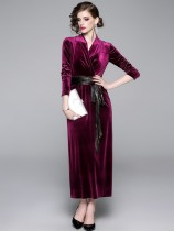 V Neck Velvet Belted Long Sleeve Prom Dress