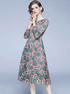 Embroidered Leaf Pink Hollow Out Lace A-line Dress