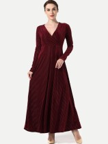 V Neck Long Sleeve Velvet A-line Maxi Formal Dress