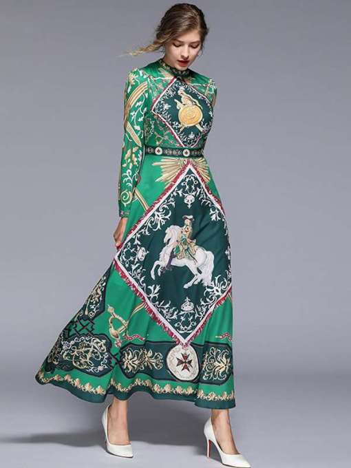 Green Printed Long Sleeve Maxi Circle Dress
