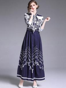 Navy Letter Print Tie Front A-line Maxi Dress
