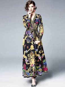 Vintage Tribal Print Long Sleeve Maxi Belted Dress
