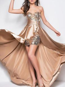 Bandeau High Low Hem Sequin Bridesmaid Dress