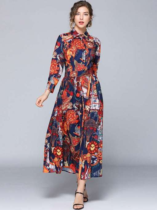 Court Print Long Sleeve Elegant Long Dress