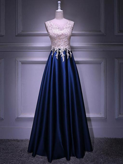 Contrast Mesh Beaded Appliques Decor Navy Sleeveless Prom Dress