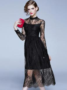 Black See Through Lace Hollow Out Long Dress
