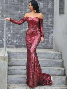 Boat Neck Sequin Embroidery Bodycon Trailing Evening Gown