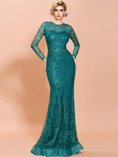 See Through Mesh Sequins Mermaid Trailing Prom Dress