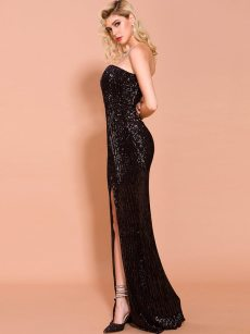 Off Shoulder Bandeau Sequin Slit Hem Mermaid Prom Dress