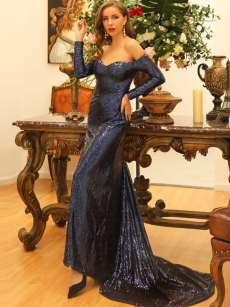 Bandeau Sequin Glitter Slit Long Sleeve Trailing Formal Dress