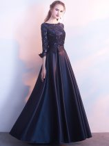 See Through Mesh Sequin Maxi Formal Prom Dress