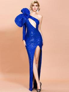 Oblique Shoulder Bow Cut Out Sequin Slit Formal Gown