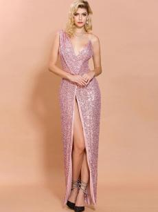 Pink Sequin Slit Front Sleeveless Slip Prom Dress