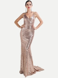 Halter Neck Sequin Backless Bodycon Trailing Mermaid Prom Dress