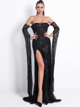 Bandeau Slit Long Sleeve Backless Glitter Maxi Prom Dress
