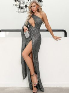 One Shoulder Cut Out Slit Grey Bodycon Maxi Evening Dress