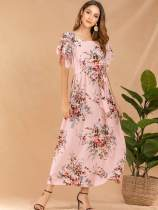 Pink Floral Print Belted Long Chiffon Dress