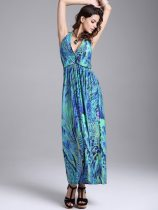 Halter Neck Colorful Print Backless Boho Long Dress