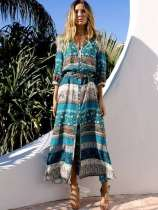 Vintage Tribal Print Slit Front Long Vacation Dress